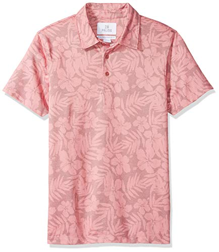 - 28 Palms Men's Standard-Fit Performance Cotton Tropical Print Pique Golf Polo Shirt, Washed Cardinal Red Hibiscus Floral, Medium