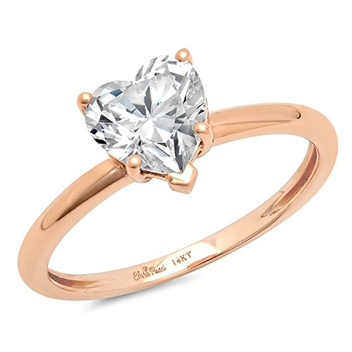Clara Pucci 1.2 CT Heart Shaped Brilliant Cut Solitaire Engagement Ring Real 14K Rose Gold, Size ()