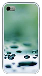 iphone 4 cases custom Water droplets N002 TPU White for Apple iPhone 4/4S