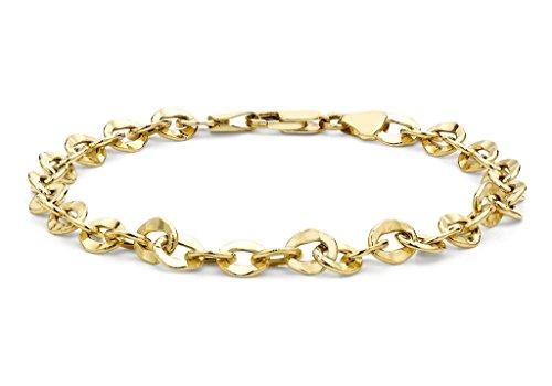 "Jewellery World Bague en or jaune 9carats martelé Lien ovale bracelet maille jaseron 19cm/7,5"""