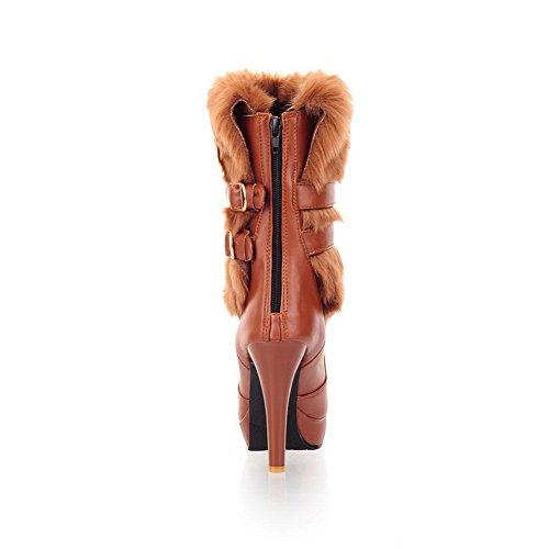 Brown Ornament Fur A amp;N Buckle Material Soft Ladies Platform Boots x4ZSqZaw