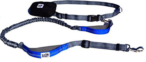 Black Rhino - Premium Hands Free Dog Leash for Running Walking Jogging & Hiking - Adjustable Length Dual Handle Bungee Leash Medium