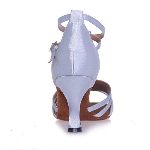 Custom Dancing Women Modern L Toe Sunglasses Shoes Large High Standard Size YC White Heels Exposed Jazz Color Multi q1SSEa