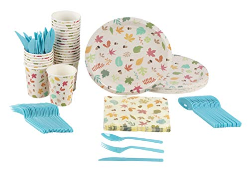 Autumn Leaves Party Supplies – Serves 24 – Includes Plates, Knives, Spoons, Forks, Cups and Napkins. Perfect Party Pack for Fall Themed Birthday and Thanksgiving Parties, Autumn Leaves Pattern for $<!--$17.99-->