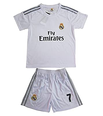 2015/2016 Real Madrid #7 Ronaldo Kids Home Soccer Jersey & Shorts Youth Sizes