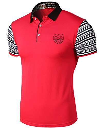 Color Block Collar Stripe Short Sleeve Point Slim Fit Polo T-Shirt Tops