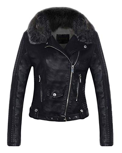 Chartou Women's Fluffy Sherpa-Lined Faux Leather Bomber Moto Biker Jacket with Fur Collar (Black, Large)