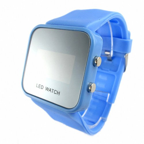 Youyoupifa Colorful Exquisite Appearance Digital LED Mirror Watch with Soft Rubber Material (Blue)