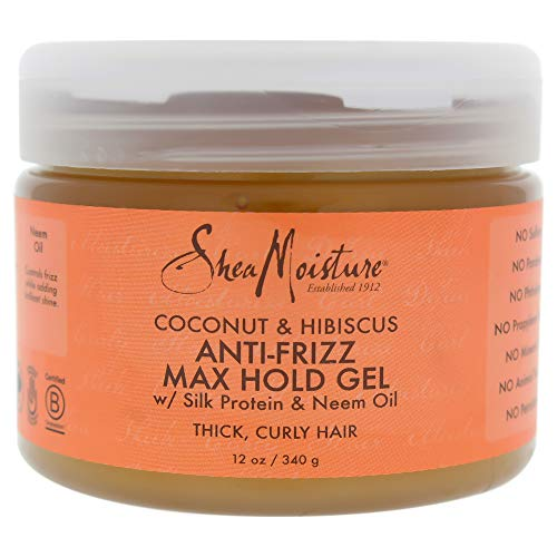 Shea Moisture Coconut and Hibiscus Anti-Frizz Max Hold Gel for Unisex, 12 Ounce