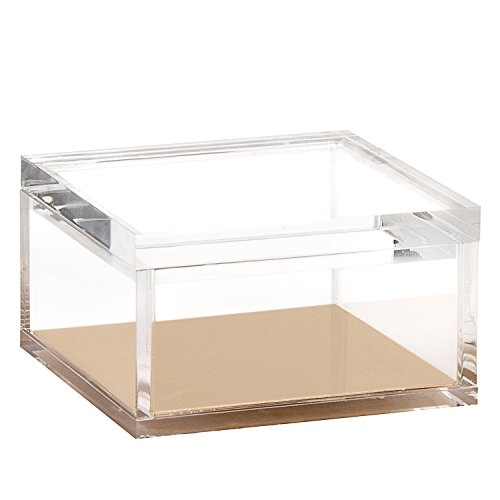 Acrylic & Gold Odds & Ends Box - A Classic Modern Design to Help Organize and Brighten Up Your Desk – Elegant Office Accessory (Large)