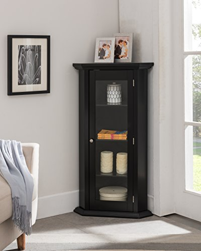 Kings Brand Furniture - Corner Curio Storage Cabinet with Glass Door, Black Finish (Bar Corner Cabinet White)