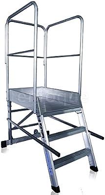 Escalera profesional de aluminio un acceso con plataforma de ...