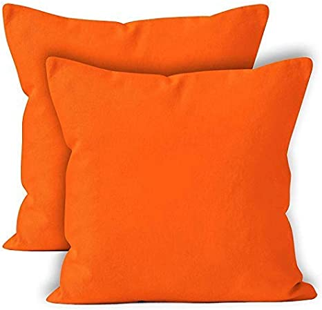 Encasa Xo Throw Cushion Cover 2pc Set Orange 20 X 20 Inch Solid Dyed Cotton Canvas Square Accent Decorative Pillow Case For Couch Sofa Chair Bed Home Home Kitchen