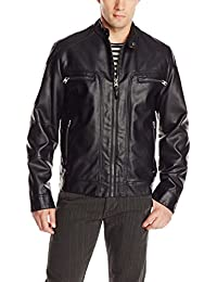 Men's Faux-Leather Moto Jacket with Hoodie