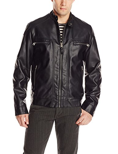 Calvin Klein Men's Faux Lamb Leather Moto Jacket with Hoodie, Black, ()