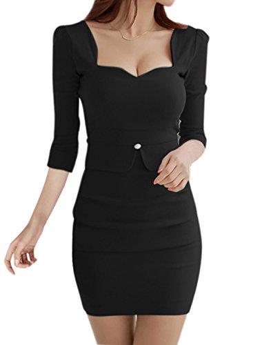 sourcingmap Mujer Asimétrico Cuello Con capas Fruncido Mini Vestido Ceñido - sintético, Negro, 5% spandex 60% poliéster 35% algodón, Mujer, M (EU 38/UK 10)