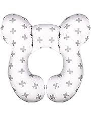 LUTER Hoofdsteunkussen voor Baby's Autostoel Hoofdsteun Comfortabel Zacht Katoenen Reiskussen voor Baby's (Wit en Grijs, Takje)