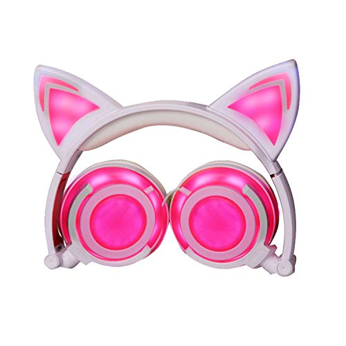 Price comparison product image Headphones Cat Ear-Inspired Head-Band Foldable LED Gaming Adults and Kids Universal Headsets USB Rechargeable Lights Headphones for IOS Android Phone Laptop 3.5mm Jack Device (T107 Pink-EP2)
