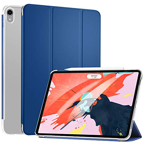 Ztotop Case for iPad Pro 11 2018 - Slim Lightweight Trifold Stand Smart Shell with Auto Wake/Sleep + Rugged Translucent Back Cover Support iPad Pencil Charging for iPad Pro 11, Blue