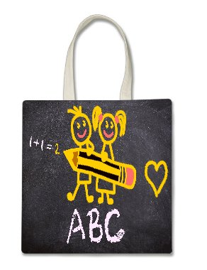 Teacher Back to School Artwork Printed Tote Bag,