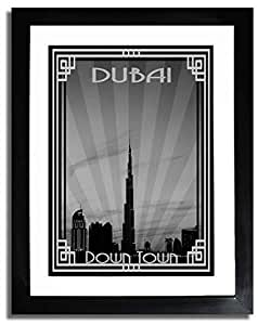 Dubai Skyline Down Town - Black And White With Silver Border F07-nm (a5) - Framed