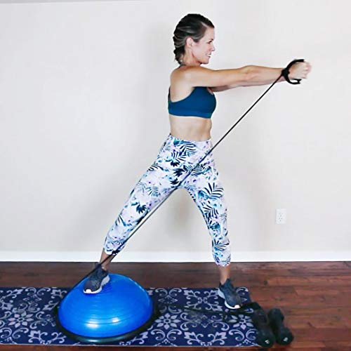 RitFit Balance Ball Trainer with Resistance Bands, Free Foot Pump, Exercise Wall Chart, Workout DVD, Measuring Tape, Blue