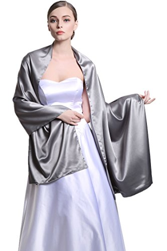 Stain Warp Versatile Scarf Shawl Bridal Stole Wedding Silky Shrug for Women's Evening Prom Party Gray