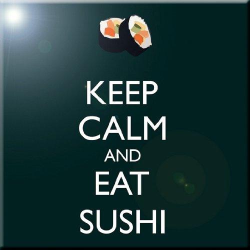 Rikki Knight Keep Calm and eat Sushi Green Color Design Ceramic Art Tile 6 x 6