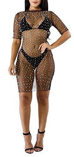 Chicmay Women's Mesh Cover up See Through Summer Beach Mini Dress