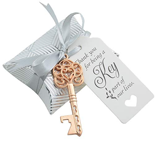 Aokbean 50pcs Wedding Favor Souvenir Gift Set Pillow Candy Box Vintage Skeleton Key Bottle Openers Escort Thank You Tag French Ribbon (Rose Gold)