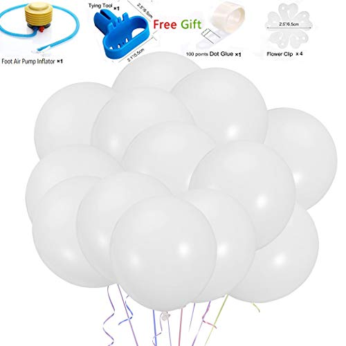 White Balloons 100pcs 10 Inches Latex Party Balloons for Wedding Graduation Birthday Christmas Baby Shower Party Decoration ()