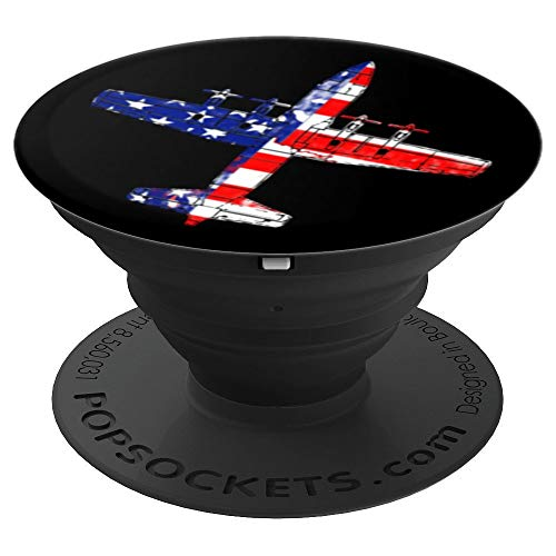 Vintage looking C-130 Hercules Patriotic Aviation Airplane - PopSockets Grip and Stand for Phones and Tablets