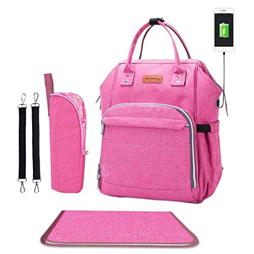 Diaper Bag - Baby Backpack Diaper Bag with Changing Pad and Cooler Pocket - by Pantheon - Baby Diaper Bag for Mom and Dad (Pink) ()
