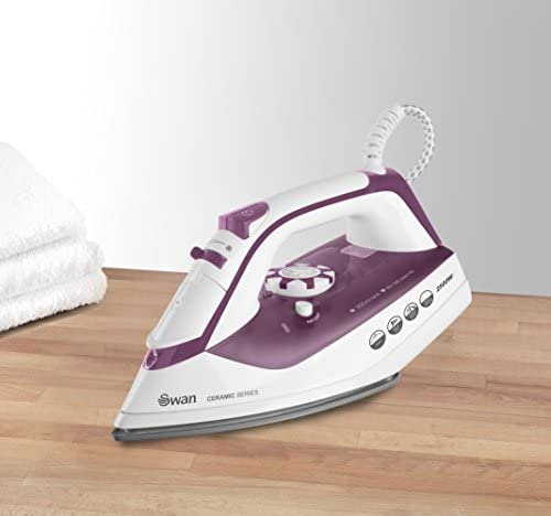 Swan SI30150N Ceramic Soleplate Steam Iron, Powerful Steam Iron With Vertical Steam Function, 2500W, Purple