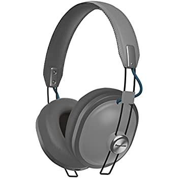 PANASONIC Wireless Retro Over-The-Ear Headphones with Bluetooth 24-Hour Playback Color Matte Steel (RP-HTX80B-H)
