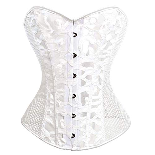 Women's Sexy Corsets Bustiers Overbust Black Mesh Top Bustier Plus Size Belly Slimming
