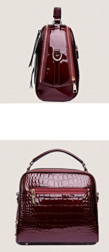 Messenger bag Wine Red Yan Show Messenger bag hand New shell patent leather shoulder bag 7vwR8q7