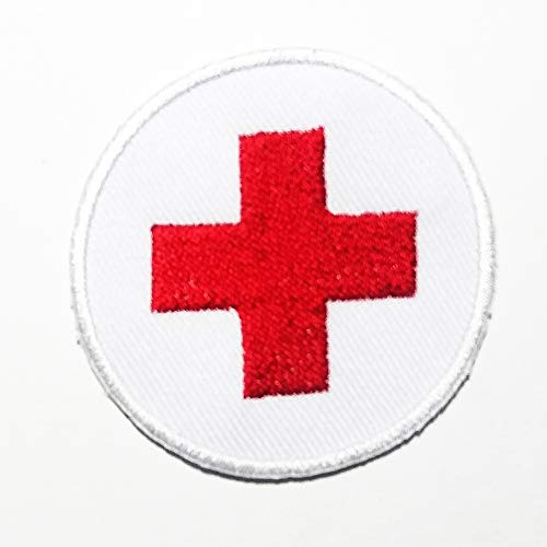 (White Red Cross Hospital Circle Unit Mobile Nursing Logo Patch Embroidered Sew Iron On Patches Badge Bags Hat Jeans Shoes T-Shirt Applique)