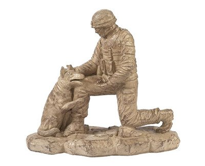 Solid Rock Stoneworks Kneeling Soldier Dog Stone Statue 18in Tall Desert Sand Brown Color (Stone Cast Dog)