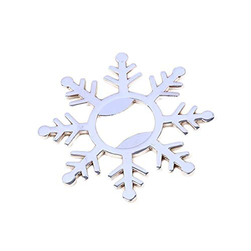 Yunhigh Snowflake Shape Bottle Beer Opener Metal Alloy Creative Gadget Wedding Party Favors Baby Shower ()