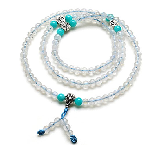 Kind of blue moon natural ice stone108 Buddhist prayer beads bracelet/ stone of love-A by Embellishment (Image #1)