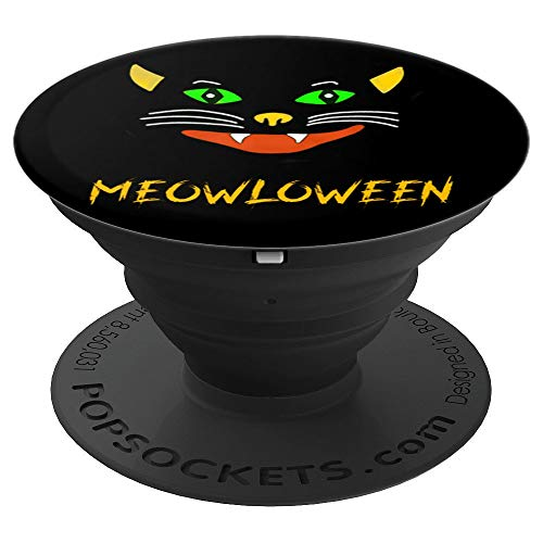 Meowloween Meow Halloween Black Cat Kitty Fierce Grunge - PopSockets Grip and Stand for Phones and Tablets]()