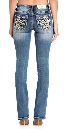 - Miss Me Women's Gold Fleur-de-Lis Embellished Pocket Boot Cut Jeans (Medium Blue, 34)