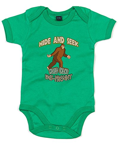 Abominable Snowman Monsters Inc (Hide And Seek World Champ, Printed Baby Grow - Kelly Green/Transfer 3-6 Months)