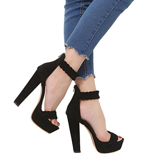 FORUU Women Ladies Sandals Waterproof Super High Heels Ankle Square Heel Shoes (37, Black) by FORUU womens shoes