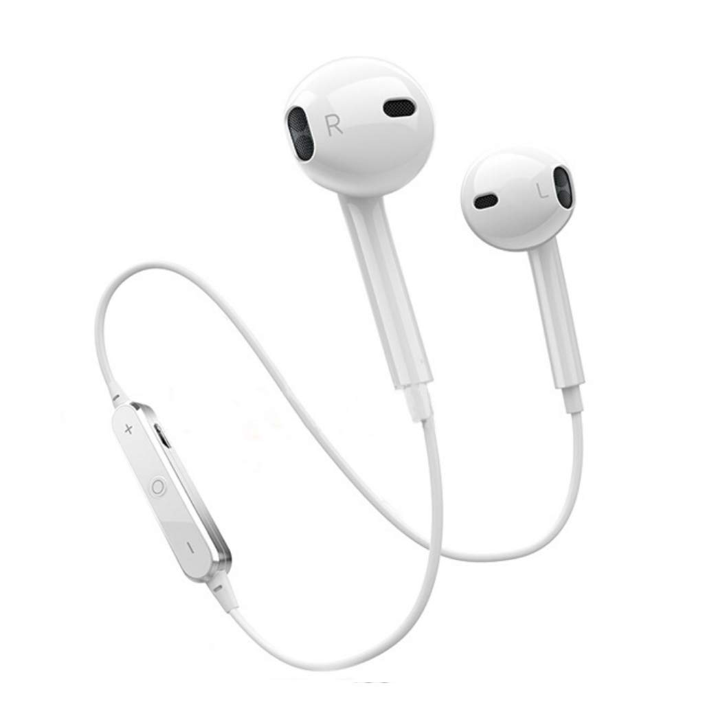 Bluetooth Headphones, Wireless Headphones Bluetooth V4.2 Earbuds Mic Stereo Earphones Noise Cancelling Sweat Proof Sports Headset-White