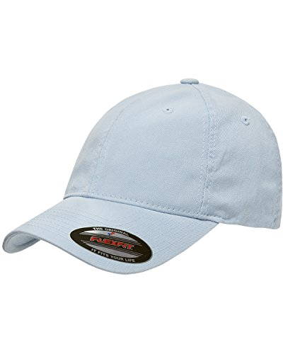 - Yupoong Flexfit Garment Washed 6-Panel Cotton Twill Cap, LIGHT BLUE, L / XL