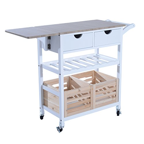 """HomCom 34"""" Rolling Drop-Leaf Kitchen Trolley Serving Cart with Wine Rack - White/Bamboo"""