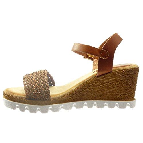 c3c4157ac52ed3 ... Angkorly - Chaussure Mode Sandale Espadrille plateforme ouverte femme  corde Talon compensé plateforme 7 CM ...