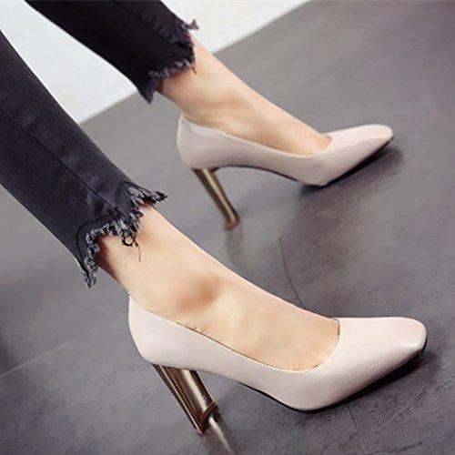 estilo metal dama elegante FLYRCX tacones zapatos zapato europeo de b moda superficial de temperamento fiesta Boca solo personalidad de tqwWSpcXw